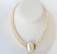 3 Strand Necklace of White Pearls with Spectacular Shell Clasp